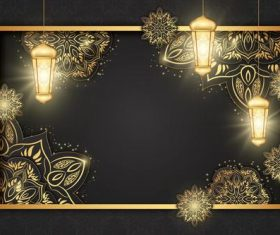 Golden bright Ramadan Kareem card vector