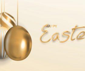 Golden egg pendant vector