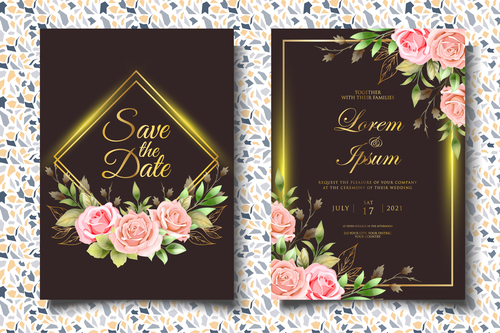 Golden glitter wedding invitation card vector