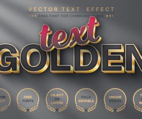 Golden silver background editable text style effect vector
