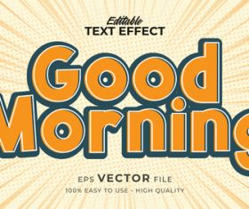 Good morning editable text effect vector