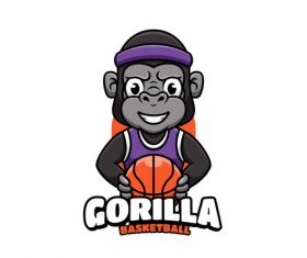 Gorilla basketball cartoon vector