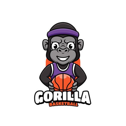 Gorilla basketball cartoon vector