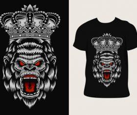 Gorilla pattern T-shirt printing vector