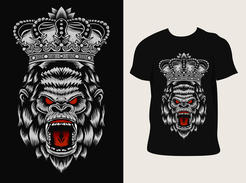 Gorilla pattern T shirt printing vector