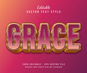 Grace text style effect vector