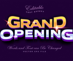 Grand opening editable font and 3d effect vector
