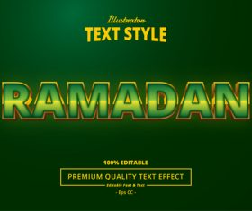 Green Islamic holiday font text style effect vector