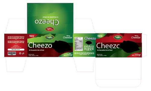 Green and red cheese packaging vector