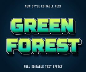 Green forest editable text effect vector