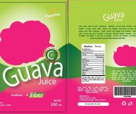 Guava juice packaging green vector