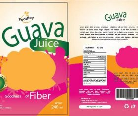 Guava juice packaging vector