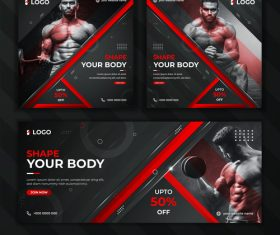 Gym banner poster vector