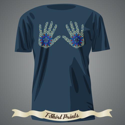 Hand T Shirts prints design vector