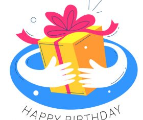 Hand drawn birthday gift illustration vector