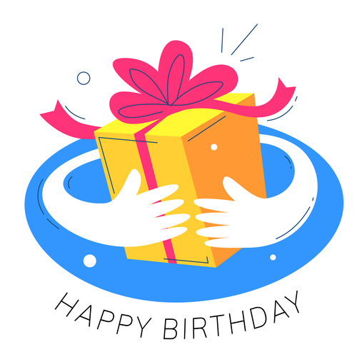 Hand drawn birthday gift illustration vector