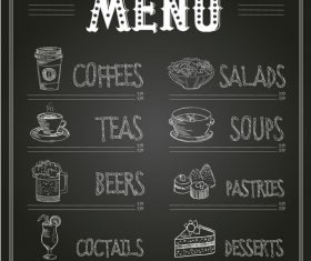 Hand drawn restaurant menu card vector