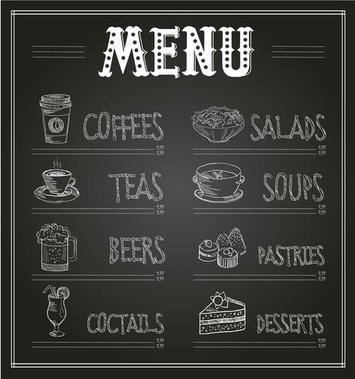 Hand drawn restaurant menu card vector