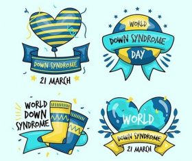 Hand-drawn world down syndrome day label collection vector