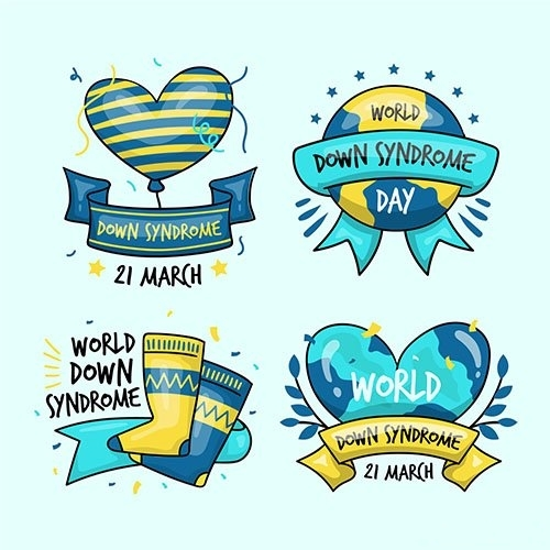 Hand drawn world down syndrome day label collection vector