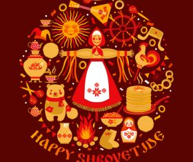 Happy Shrovetide silhouette vector