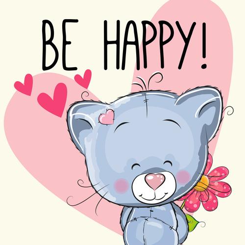 Happy animal cartoon illustration vector
