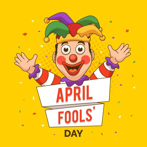 Happy april fools day cartoon vector