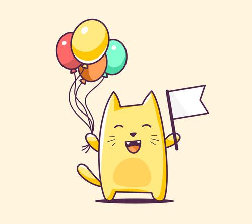Happy cat cartoon illustration vector