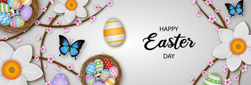 Happy easter banner illustration vector