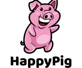 Happy pig cartoon mascot logo vector