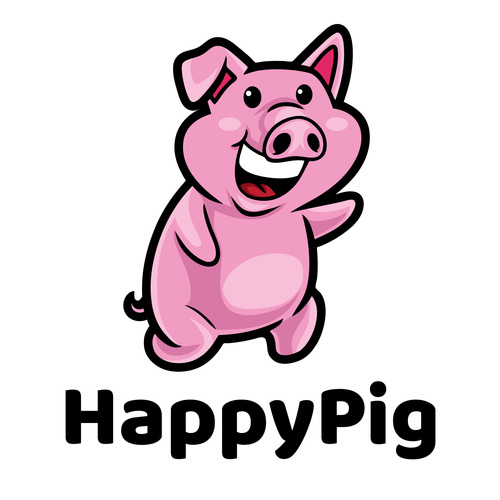 Happy pig cartoon mascot logo vector