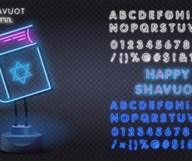 Happy shavuot neon style logo and font background vector