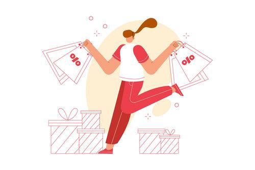 Happy shopping vector illustration