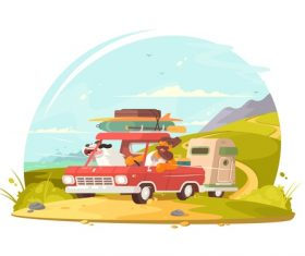Happy traveler cartoon illustration vector