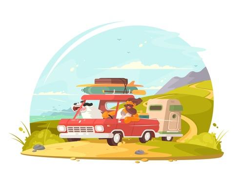 Happy traveler cartoon illustration vector