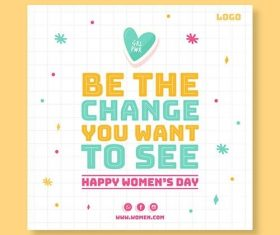 Happy womans day flyer vector