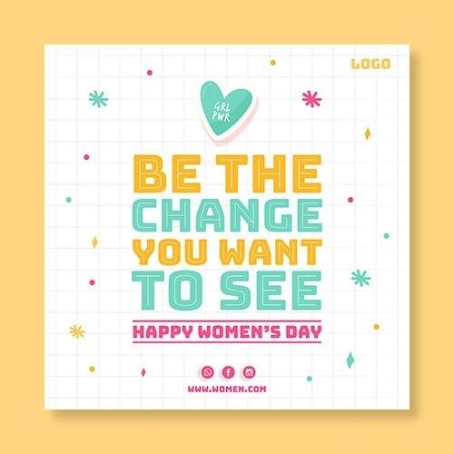 Happy womans day flyer vector