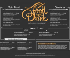 Head food menu card vector