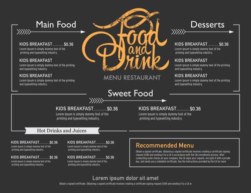 Head food menu card vector