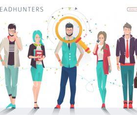 Headhunters cartoon illustration vector