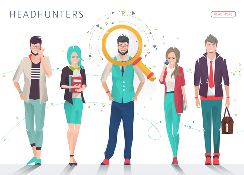 Headhunters cartoon illustration vector