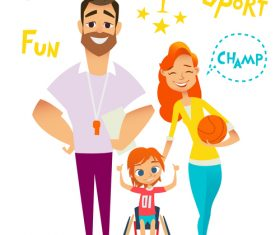 Health fun sport cartoon illustration vector