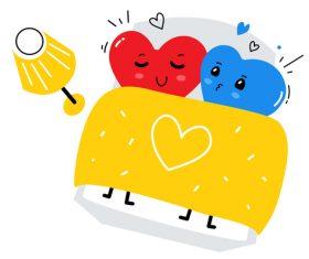 Heart shaped couple cartoon illustration vector