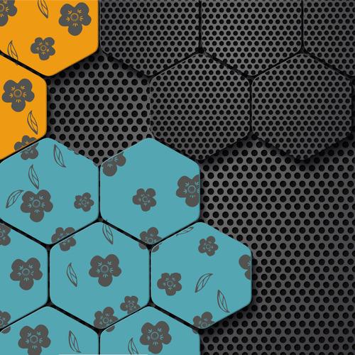 Hexagon flower abstract background vector