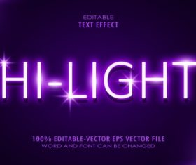 Hi light editable font text design vector