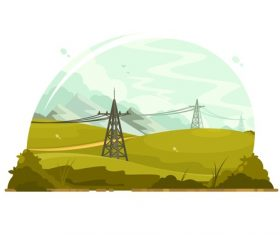 High voltage line cartoon illustration vector