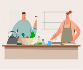 Husband and wife cooking illustration vector