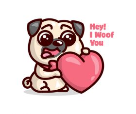 I woof you cartoon illustration vector