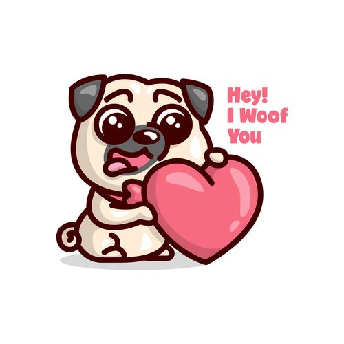 I woof you cartoon illustration vector