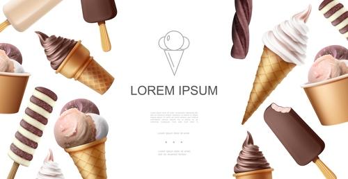 Ice cream 3d illustration vector
